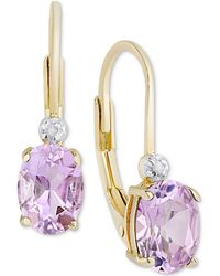 Macy's - Birth Gemstone & Diamond Accent Drop Earrings In 18k Gold-plated Sterling Silver (available In All Birthstones) - Lyst