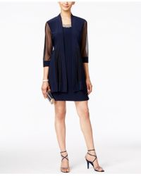 R & M Richards Embellished Dress And Illusion Duster Jacket - Blue