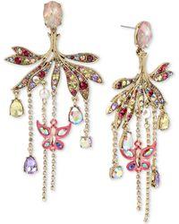 Betsey Johnson - Gold-tone Crystal & Pavé Butterfly Chandelier Earrings - Lyst