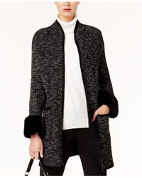 Alfani - Faux-fur-cuff Sweater Coat - Lyst