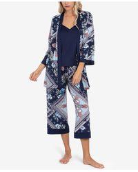 Linea Donatella Robe, Cami & Capri 3pc Pajama Set - Blue