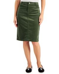 Charter Club Corduroy Tummy-control Skirt, Created For Macy's - Green