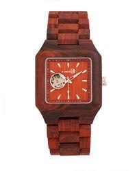 Earth Wood - Black Rock Automatic Wood Bracelet Watch Red 42mm - Lyst