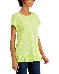Fever Ruffle-back T-shirt - Green