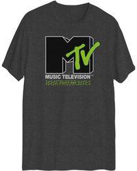 Hybrid Mtv Logo Graphic Short Sleeves T-shirt - Gray