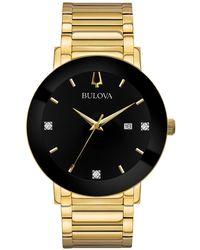 Bulova - Futuro Diamond Dress Diamond-accent Gold-tone Stainless Steel Bracelet Watch 42mm - Lyst