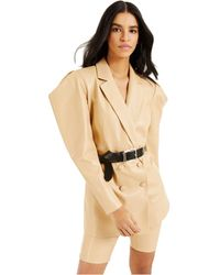 INC International Concepts Culpos X Exaggerated-Sleeve Faux-leather Blazer, Created For Macy's - Natural