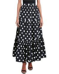 BCBGMAXAZRIA Polka-dot Tiered Skirt - Black