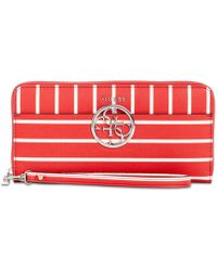 Guess - Kamryn Red Stripe Large Zip Around Wallet - Lyst a5ce1893beede