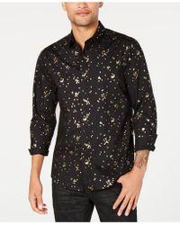INC International Concepts Big & Tall Confetti Foil Shirt, Created For Macy's - Black