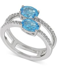 Macy's - Swiss Blue Topaz (1-3/4 Ct. T.w.) & White Topaz (1/3 Ct. T.w.) Ring In Sterling Silver - Lyst
