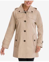 London Fog Petite Single-breasted Hooded Raincoat - Natural