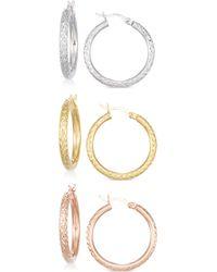 Macy's - Set Of Three Textured Hoop Earrings In 14k Tri-gold Vermeil - Lyst