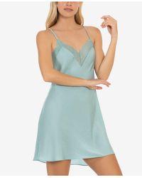 Linea Donatella Hammered Satin Chemise Nightgown - Blue