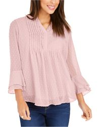 Charter Club Petite Double-ruffle Textured Pintuck Top, Created For Macy's - Pink