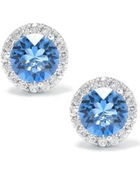 Giani Bernini Swarovski Crystal Round Halo Stud Earrings Set In Sterling Silver. Available In Clear - Blue