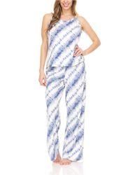 BEARPAW Lettuce Edge Ruffle Jersey Rib Tank And Wide Leg Pant, Pajama Lounge Comfy Sleepwear Set, 2 Piece - Blue
