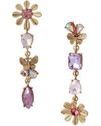 Betsey Johnson Flower Mismatch Linear Earrings - Metallic