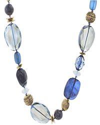 Catherine Malandrino - Blue Beaded Yellow Gold-tone Chain Necklace - Lyst