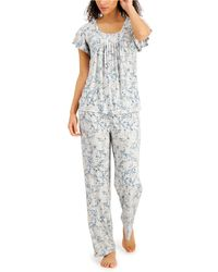 Charter Club Printed Pleated-front Pyjama Set, Created For Macy's - Multicolour