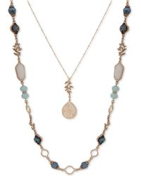 """Lonna & Lilly - Gold-tone Bead & Stone 28""""/34"""" 2-in-1 Necklace - Lyst"""