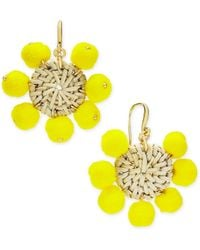 INC International Concepts - I.n.c. Gold-tone Basketweave Yellow Pom-pom Drop Earrings, Created For Macy's - Lyst