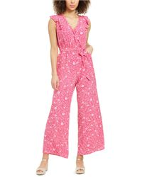 Charter Club Petite Printed Flutter-sleeve Jumpsuit, Created For Macy's - Pink