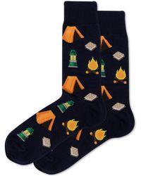 Hot Sox Camping Crew Socks - Blue