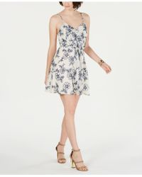 19 Cooper - Printed Tie-front Shift Dress - Lyst