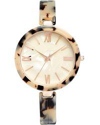 INC International Concepts Tortoise-look Bangle Bracelet Watch 40mm, Created For Macy's - Metallic