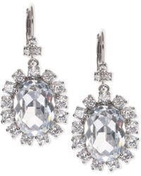 Marchesa | Silver-tone Cubic Zirconia Halo Oval Drop Earrings, Created For Macy's | Lyst