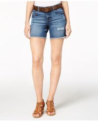 Style & Co. - Petite Belted Denim Shorts, Created For Macy's - Lyst