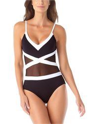 Anne Cole Colorblocked Mesh V-neck One-piece Swimsuit - Black