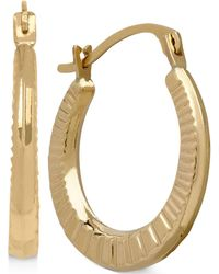 Macy's - Ribbed-style Hoop Earrings In 10k Gold - Lyst