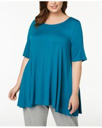 Eileen Fisher - Plus-size Stretch Jersey Elbow-sleeve Top - Lyst