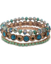 Lonna & Lilly - Gold-tone 3-pc. Set Crystal & Bead Stretch Bracelets - Lyst