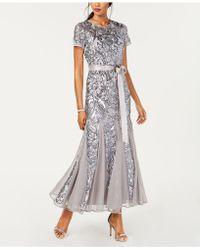 R & M Richards Petite Embellished Illusion Gown - Metallic