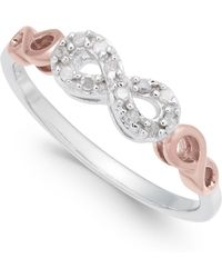 Macy's - Diamond Infinity Ring (1/10 Ct. T.w.) In Sterling Silver And Rose Gold-plate - Lyst