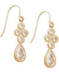 Macy's - Cubic Zirconia Drop Earrings In 10k Gold, 1 Inch - Lyst
