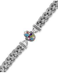 Effy Collection Multi-gemstone (1-1/3 Ct. T.w.) Hamsa Hand Bracelet In Sterling Silver - Metallic