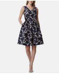 Tahari - Printed Fit & Flare Dress - Lyst