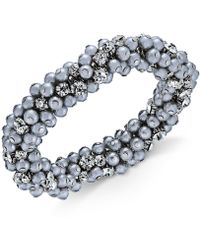 Charter Club | Silver-tone Crystal & Gray Imitation Pearl Cluster Bracelet | Lyst