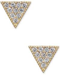 Macy's - Cubic Zirconia Pavé Triangle Stud Earrings In 10k Gold - Lyst