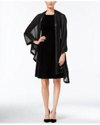 Calvin Klein Satin Trim Chiffon Evening Wrap - Black