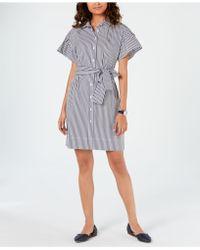 1a29d0576e7f98 Lyst - Tommy Hilfiger Denim Belted Shirtdress in Blue