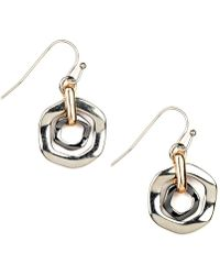 Nine West - Earrings, Tri Tone Orbital Fish Hook Earrings - Lyst