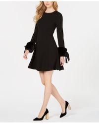 Calvin Klein - Faux-fur Tie-sleeve Dress - Lyst
