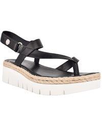 Nine West Starr Asymmetrical Low Platform Sandals - Black