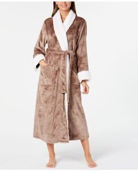 Charter Club Faux-sherpa-trim Robe, Created For Macy's - Multicolour