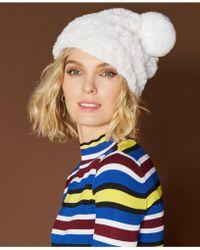 The Fur Vault Knitted Rabbit Fur Hat - White